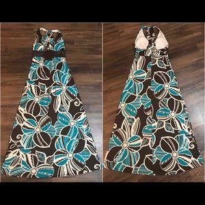 Floral Halter Top Maxi Dress w/ Built in Bra. Sz M
